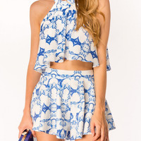 Blue and White Two Piece Summer Shorts Set