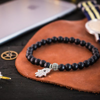 Matte black onyx beaded stretchy bracelet with silver micro pave Hamsa hand charm & ball, made to order bracelet