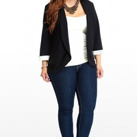 Plus Size Tuxedo Cuffed Blazer | Fashion To Figure