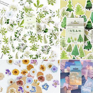 45 Pieces/Box Gardenia Flower Stickers Self-adhesive Various Sticker Manual Account DIY Decoration Seal Paste Scrapbooking