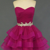 Organza Sweetheart Red Homecoming Dress Short Prom Dress