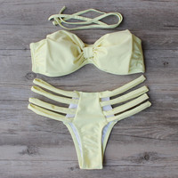 Cute Bow Yellow Push Up Bikini Set Swimsuit