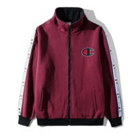 Champion New fashion embroidery letter keep warm long sleeve coat Burgundy