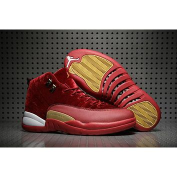 Air Jordan Retro 12 Red Velvet Men Basketball Shoes 12s Velvet Wine Red Trainers Athletic Sneakers High Quality With Shoes Box