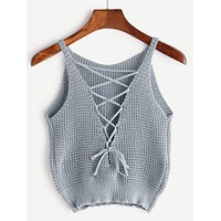 Lace-up Front Crochet Top