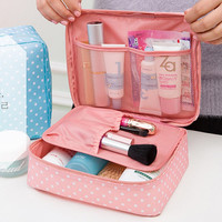 Women's Large Capacity Cosmetic Poka Dot Canvas Makeup Storage Travel Bag