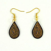 CD recycled Earrings : Black drops with coppery spirals - by Savousepate