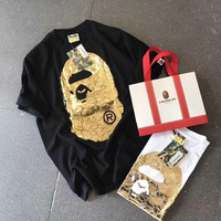 BAPE Gold Print Logo White Black Round-neck Short-Sleeve Top