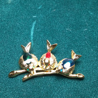 Three Enameled  and Rhinestone Birds sitting on a  Gold Tone Branch Brooch / Pin