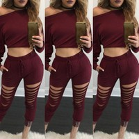 Solid Hole 2 Two Pieces Set Top and Pants Women Hollow Out Crop Tops Pockets Tracksuits Sexy Slim Suit Hoodies Sweatshirts **