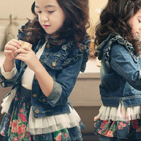 Spring Autumn Children Denim Coat Fly Sleeve Long Sleeve Denim Outerwear Fashion Flower Denim Jackets For Girls = 1930339268