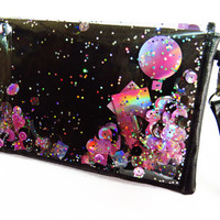 Black and Pink Clutch, Leather Clutch, Holographic Bag, Glitter Clutch