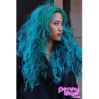 Teal Invisible U-Part Wig