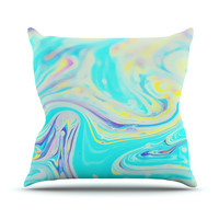 "Ingrid Beddoes ""Aqua Swirl"" Blue Paint Throw Pillow, 16"" x 16"" - Outlet Item"