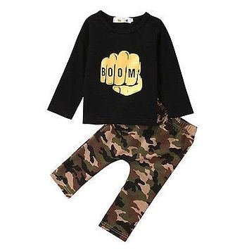 2Pcs Suits Children Clothing Toddler Kids Baby Boy Clothes Casual Long Sleeve Tops+Camouflage Pants Outfits Set