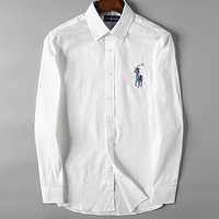 Polo Casual Men Buttons Long Sleeve V-Neck  Shirt Top Tee