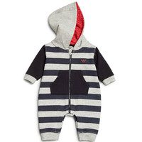 Baby Boys Striped Hooded One Piece Zip-Up