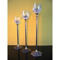 Italian Crystal Silver Stems Tall Brass Candle Holders Suite Various Sizes