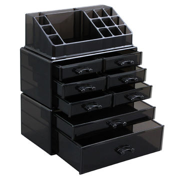 Black Makeup Beauty Organizer Cosmetic Storage Display Boxes Jewelry Chest 3 Pieces Set