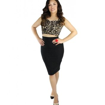 Hemet Women's Pin Up Stretchy Crop Top - Leopard