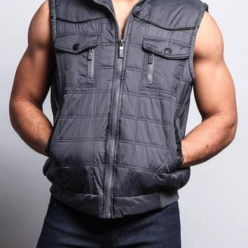 Men's Padded Shearling Puffer Vest