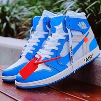 Onewel Air Jordan 1 x OFF-WHITE UNC AJ1 OW North Carolina Blue
