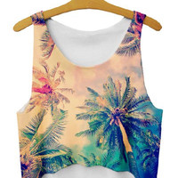 Tropical Print Crop Top Tank