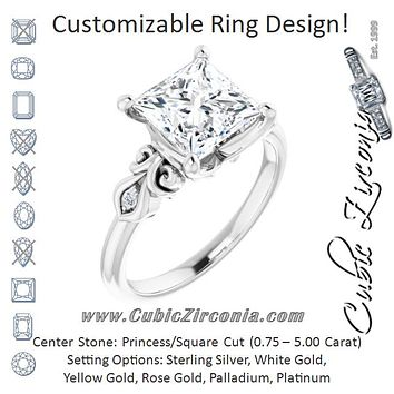 Cubic Zirconia Engagement Ring- The Natsumi (Customizable 3-stone Princess/Square Cut Design with Small Round Accents and Filigree)