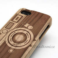 Natural Wood Engraved Vintage Camera Style, iPhone 5/5s iPhone 5C 4/4s, Samsung S5, Note3 Laser Engraving wooden case, FREE screen protector