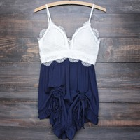 color block romper with scrunch ruffle hem - white/navy