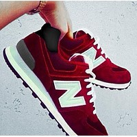 Alwayn New Balance Z-shaped shoes sports casual running shoes tide retro shoes Red
