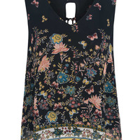 Black Butterfly And Floral Print Tie Up Back Chiffon Vest