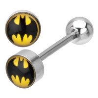 DC Comics Batman Stainless Steel Barbell Tongue Ring 14G 5/8""