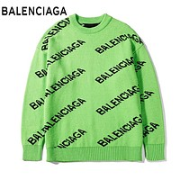 BALENCIAGA Fashion Women Men Casual Print Round Collar Classic Sweater Top Green
