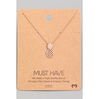 Pineapple Pendant Necklace - Rose Gold