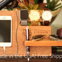 Docking Station, Apple Watch Charging Station, Apple Watch Stand, iPhone Dock, Tech Organizer, Gift for Dad, Gift for Him Gift for Boyfriend