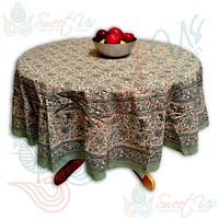 Block Print Tablecloth for Dining, Kitchen Cotton Floral Table Linen Collection