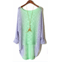 In long loose round collar gradient sweater
