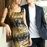 Gold Sequin Scoopback Tank Dress