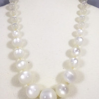 White moonglow necklace, vintage moonglow, 1950s vintage necklace, pearly white choker, vintage choker, faux moonstone