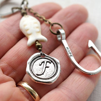 Monogram Keychain, Initial Keychain, Personalized Keychain, Hooked on you, Gone Fishing, Wax Seal, White or Blue Turquoise Accessory for man
