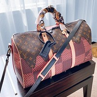 LV Airport Travel Bag Scarf Bag Luggage Bag Coffee Pink