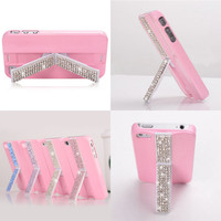 cute luxurious Rhinestone stand case for iphone4/4s