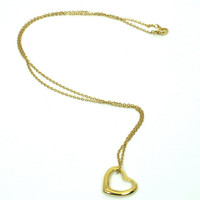 Floating Heart Necklace on Gold Tone Chain
