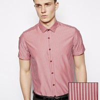 ASOS Smart Shirt In Short Sleeve With Bold Stripe