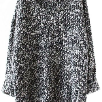 Sheinside Women's Long Sleeve Loose Knitted Pullovers Sweater