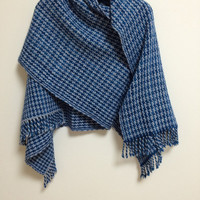 Handwoven Shawl, Stole,  Lap Blanket, Soft Merino Wool, Houndstooth in Blue and Pale Gray