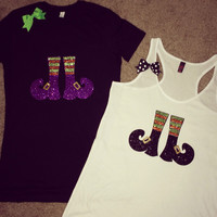 Halloween - Witch Feet - Ruffles with Love - Racerback Tank - Womens Fitness - Workout Clothing - Workout Shirts with Sayings
