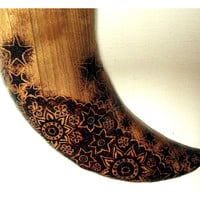 Moon Wall Hanging with Pyrography (Wood burning) Carving in Cherry, hand made in UK. Wall art, wood carving, moon ornament, moon and stars