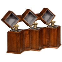 Triple Decanter Set In Conjoined Square Cases